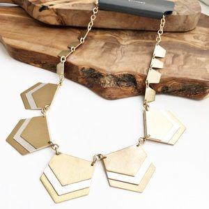 Express mixed metals matte chevron necklace